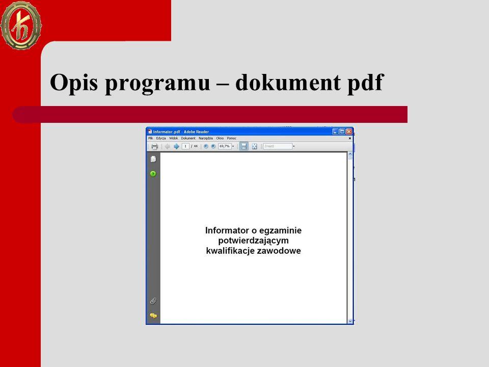 Opis programu – dokument pdf