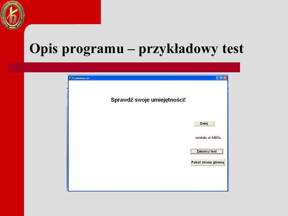 Opis programu – przykładowy test