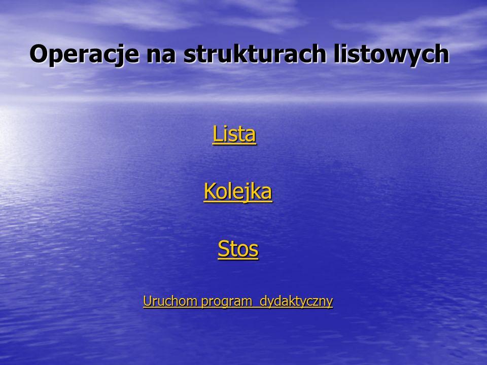 Operacje na strukturach listowych Lista Kolejka Stos Uruchom program dydaktyczny Uruchom program dydaktyczny