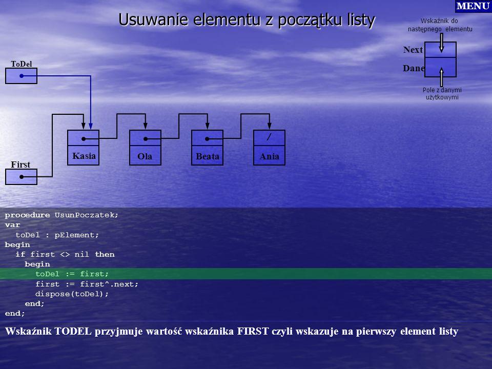 Usuwanie elementu z początku listy procedure UsunPoczatek; var toDel : pElement; begin if first <> nil then begin toDel := first; first := first^.next
