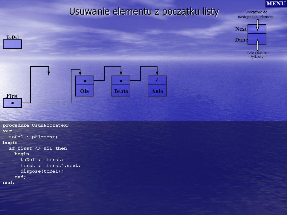 / Usuwanie elementu z początku listy procedure UsunPoczatek; var toDel : pElement; begin if first <> nil then begin toDel := first; first := first^.ne