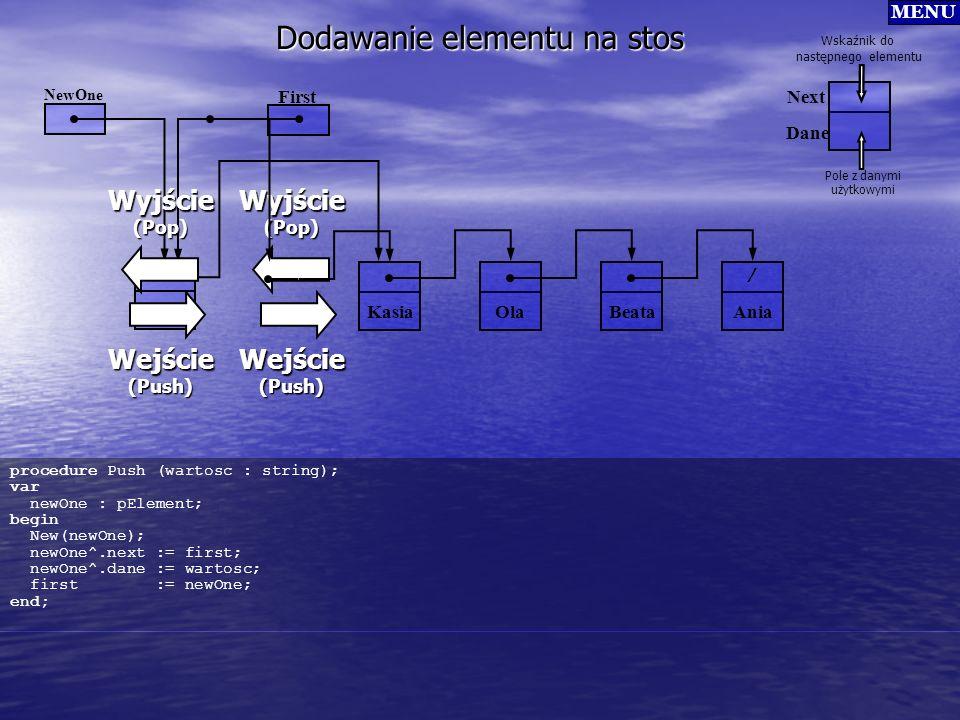 Dodawanie elementu na stos Kasia OlaBeata / Ania Wyjście(Pop) Wejście(Push) First Dane Next Wskaźnik do następnego elementu Pole z danymi użytkowymi M