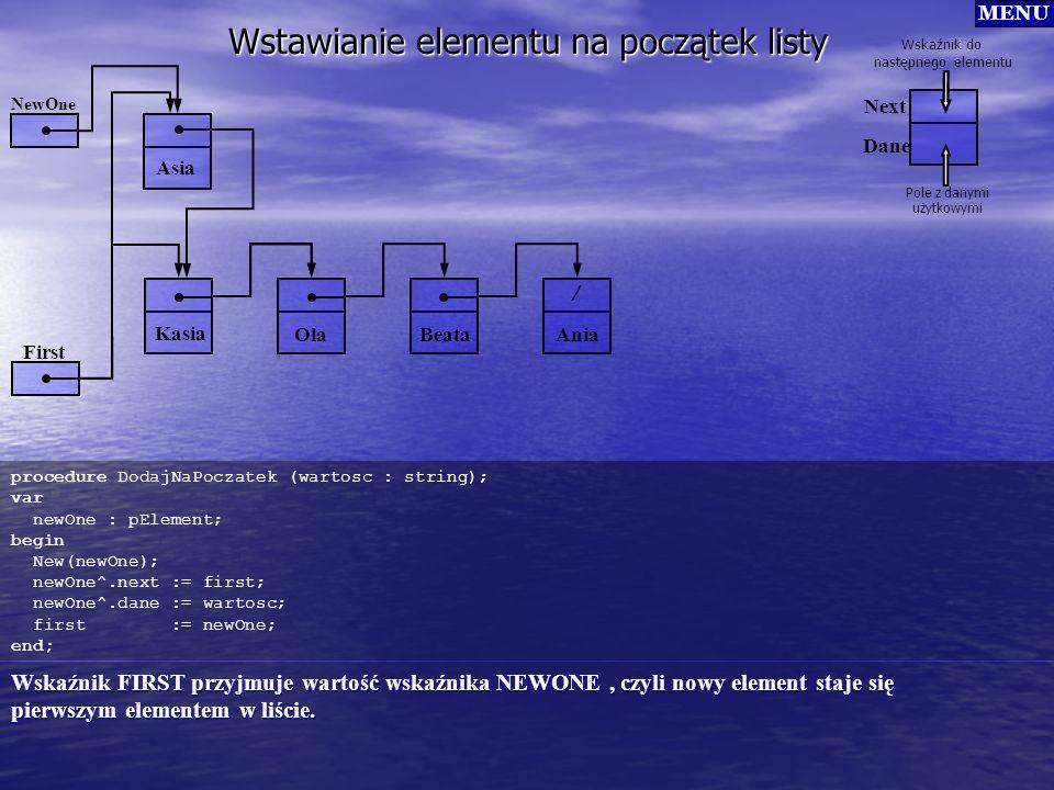 Wstawianie elementu na początek listy procedure DodajNaPoczatek (wartosc : string); var newOne : pElement; begin New(newOne); newOne^.next := first; n