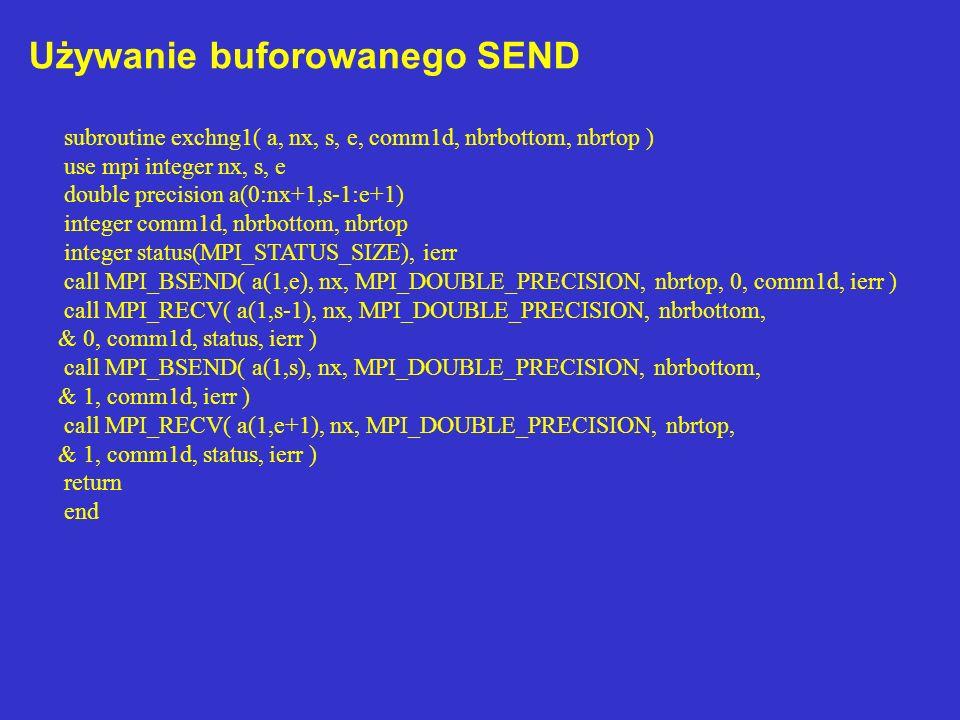 Używanie buforowanego SEND subroutine exchng1( a, nx, s, e, comm1d, nbrbottom, nbrtop ) use mpi integer nx, s, e double precision a(0:nx+1,s-1:e+1) integer comm1d, nbrbottom, nbrtop integer status(MPI_STATUS_SIZE), ierr call MPI_BSEND( a(1,e), nx, MPI_DOUBLE_PRECISION, nbrtop, 0, comm1d, ierr ) call MPI_RECV( a(1,s-1), nx, MPI_DOUBLE_PRECISION, nbrbottom, & 0, comm1d, status, ierr ) call MPI_BSEND( a(1,s), nx, MPI_DOUBLE_PRECISION, nbrbottom, & 1, comm1d, ierr ) call MPI_RECV( a(1,e+1), nx, MPI_DOUBLE_PRECISION, nbrtop, & 1, comm1d, status, ierr ) return end