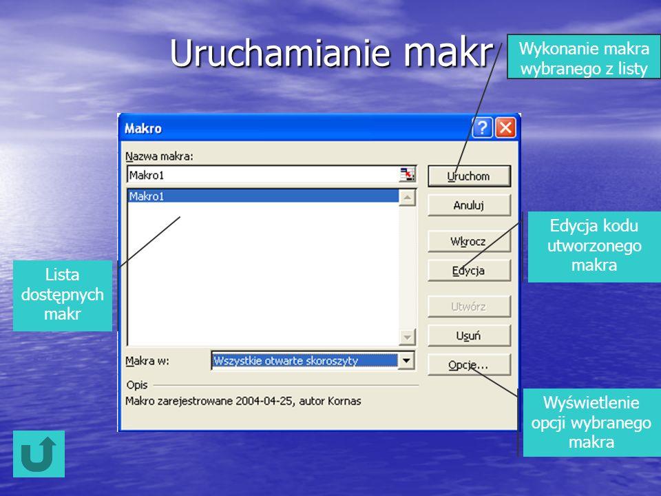 Uruchamianie makr Lista dostępnych makr Wykonanie makra wybranego z listy Edycja kodu utworzonego makra Wyświetlenie opcji wybranego makra