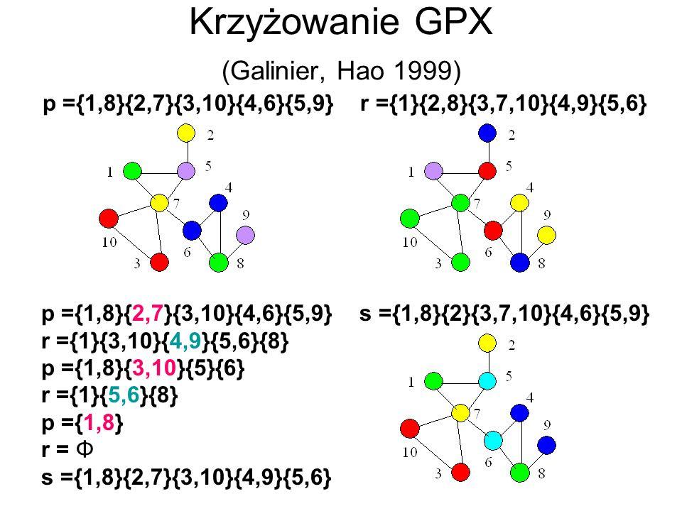Krzyżowanie GPX (Galinier, Hao 1999) p ={1,8}{2,7}{3,10}{4,6}{5,9} r ={1}{2,8}{3,7,10}{4,9}{5,6} p ={1,8}{2,7}{3,10}{4,6}{5,9} r ={1}{3,10}{4,9}{5,6}{