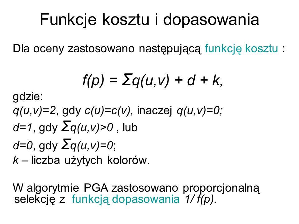 Funkcje kosztu i dopasowania Dla oceny zastosowano następującą funkcję kosztu : f(p) = Σ q(u,v) + d + k, gdzie: q(u,v)=2, gdy c(u)=c(v), inaczej q(u,v