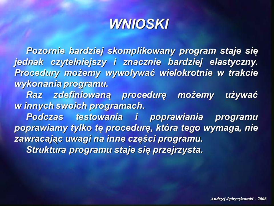 Andrzej Jędryczkowski - 2006 Pozornie bardziej skomplikowany program staje się jednak czytelniejszy i znacznie bardziej elastyczny. Procedury możemy w