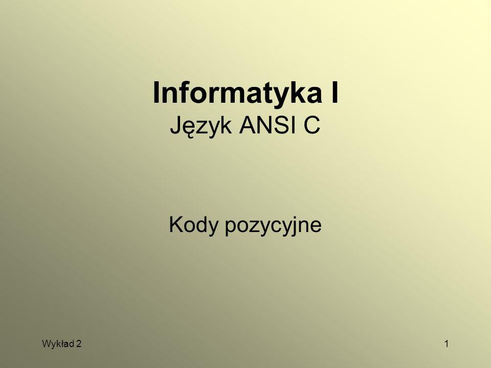 Wykład 21 Informatyka I Język ANSI C Kody pozycyjne