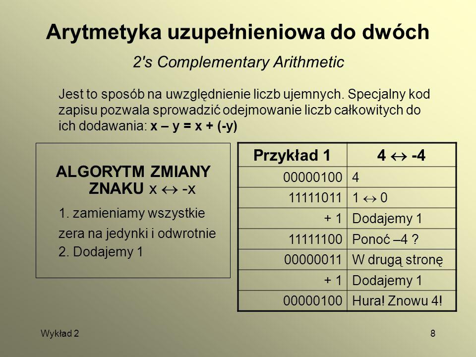 Wykład 28 Arytmetyka uzupełnieniowa do dwóch 2's Complementary Arithmetic Jest to sposób na uwzględnienie liczb ujemnych. Specjalny kod zapisu pozwala