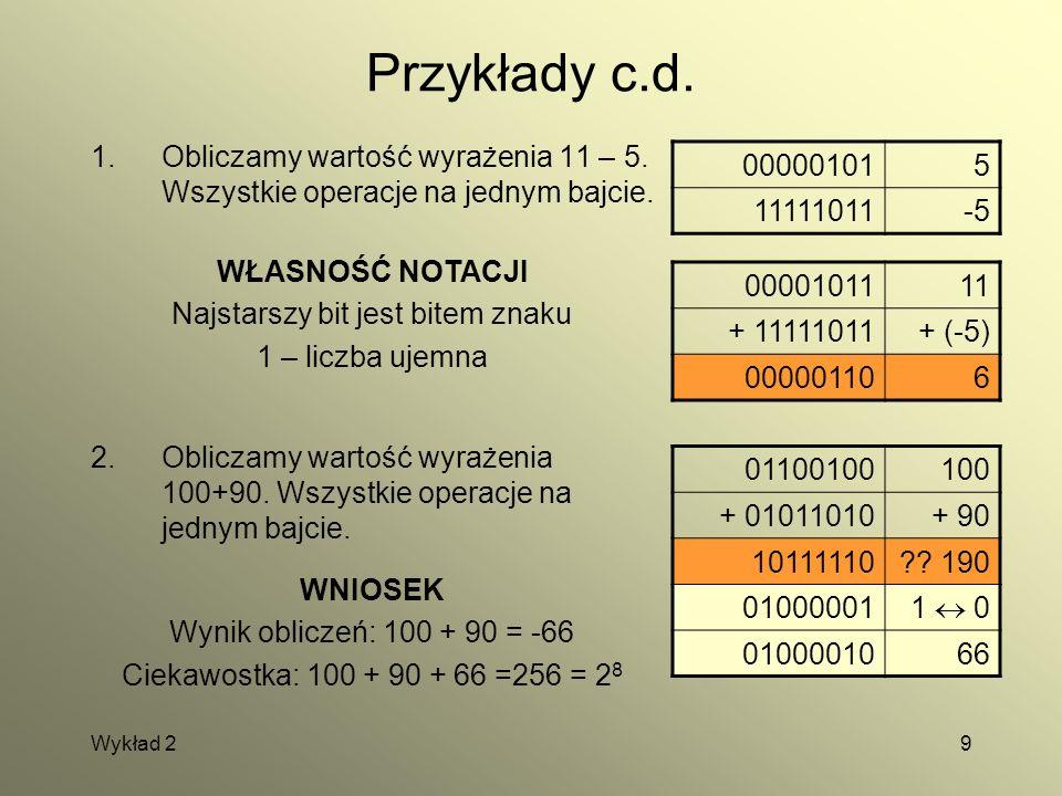 Wykład 29 Przykłady c.d. 1.Obliczamy wartość wyrażenia 11 – 5. Wszystkie operacje na jednym bajcie. 000001015 11111011-5 0000101111 + 11111011+ (-5) 0