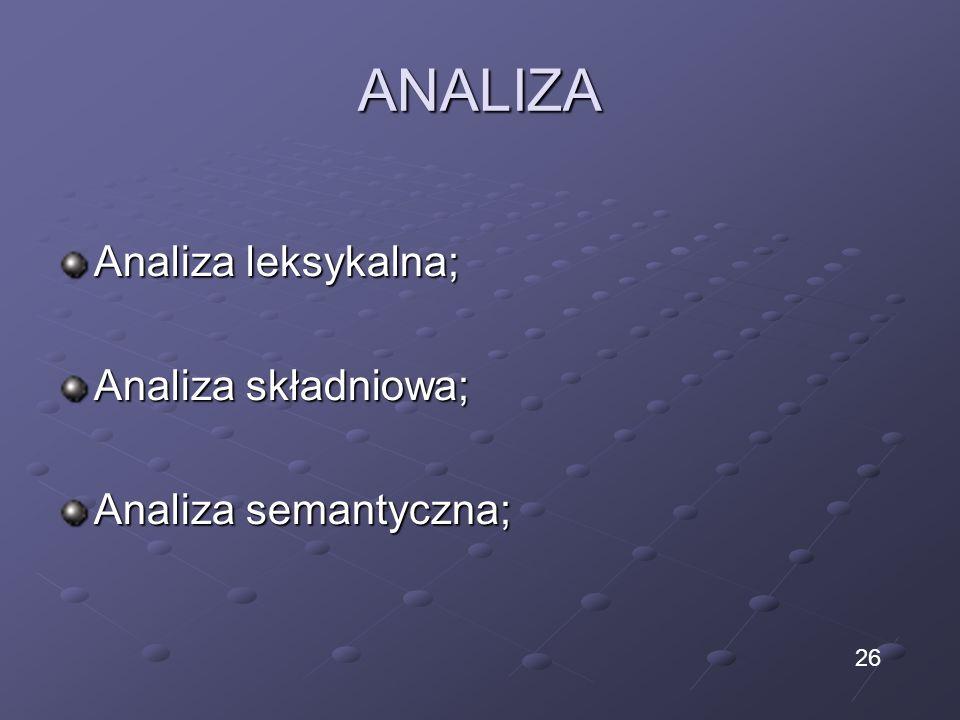 ANALIZA Analiza leksykalna; Analiza składniowa; Analiza semantyczna; 26