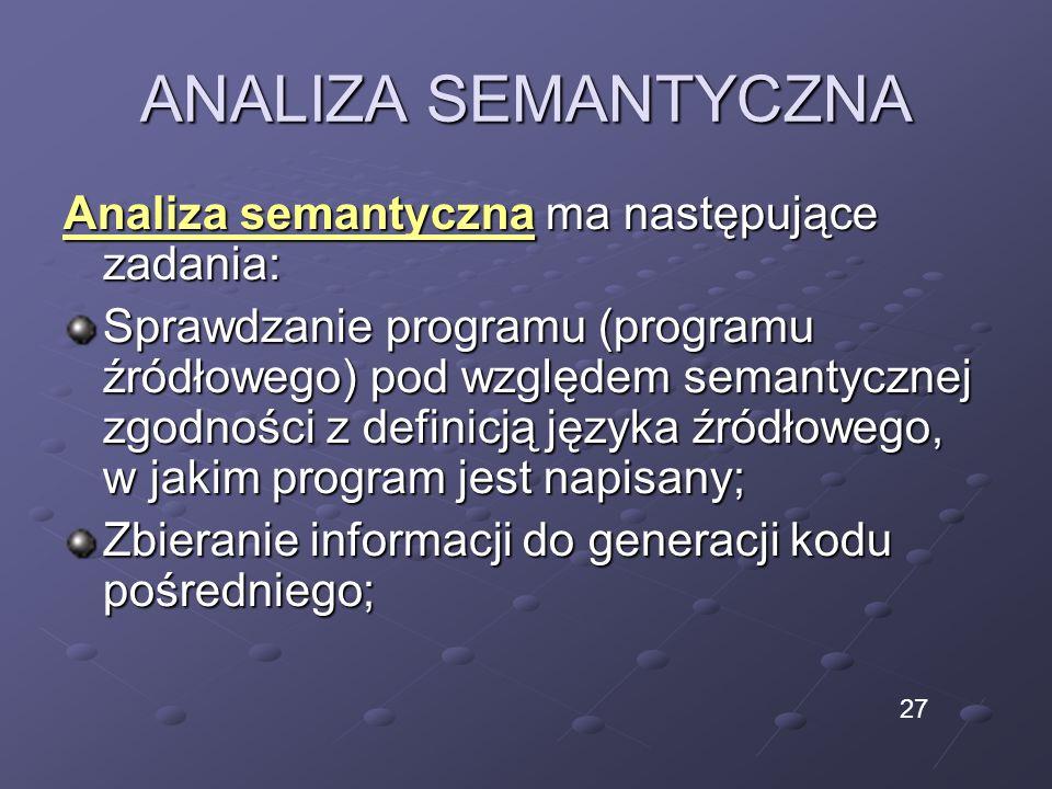 ANALIZA SEMANTYCZNA Analiza semantyczna ma następujące zadania: Sprawdzanie programu (programu źródłowego) pod względem semantycznej zgodności z defin