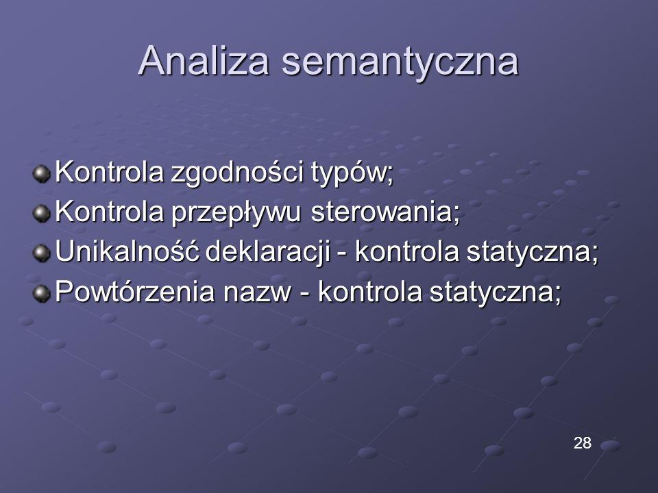 Analiza semantyczna Kontrola zgodności typów; Kontrola przepływu sterowania; Unikalność deklaracji - kontrola statyczna; Powtórzenia nazw - kontrola s