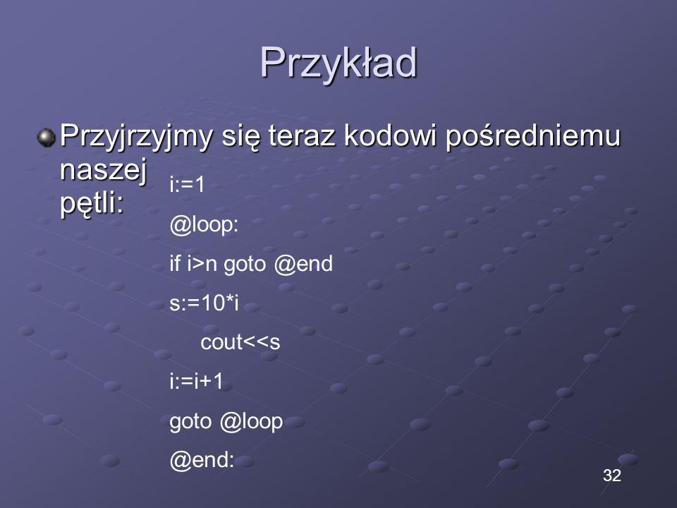 Przykład Przyjrzyjmy się teraz kodowi pośredniemu naszej pętli: i:=1 @loop: if i>n goto @end s:=10*i cout<<s i:=i+1 goto @loop @end: 32