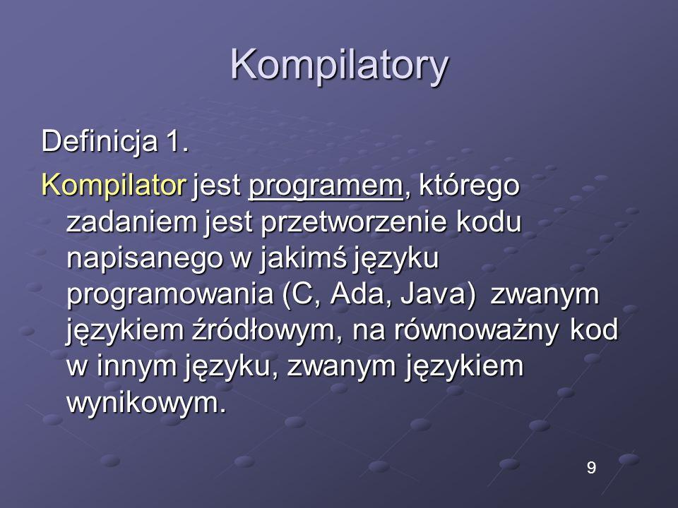 Kompilatory Definicja 1. Kompilator jest programem, którego zadaniem jest przetworzenie kodu napisanego w jakimś języku programowania (C, Ada, Java) z