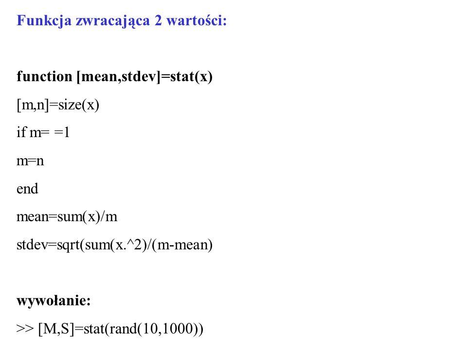 Funkcja zwracająca 2 wartości: function [mean,stdev]=stat(x) [m,n]=size(x) if m= =1 m=n end mean=sum(x)/m stdev=sqrt(sum(x.^2)/(m-mean) wywołanie: >>