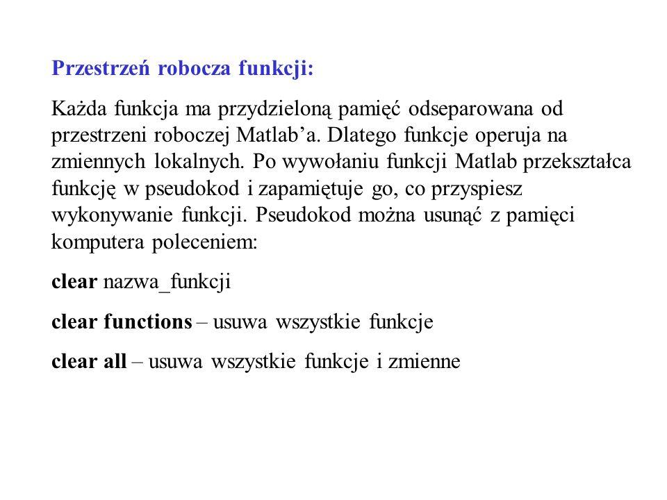 Przestrzeń robocza funkcji: Każda funkcja ma przydzieloną pamięć odseparowana od przestrzeni roboczej Matlaba. Dlatego funkcje operuja na zmiennych lo