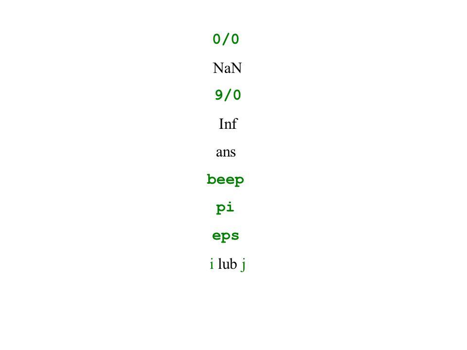 0/0 NaN 9/0 Inf ans beep pi eps i lub j