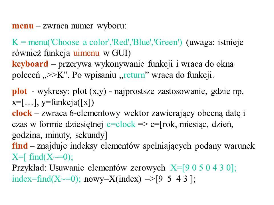 menu – zwraca numer wyboru: K = menu('Choose a color','Red','Blue','Green') (uwaga: istnieje również funkcja uimenu w GUI) keyboard – przerywa wykonyw