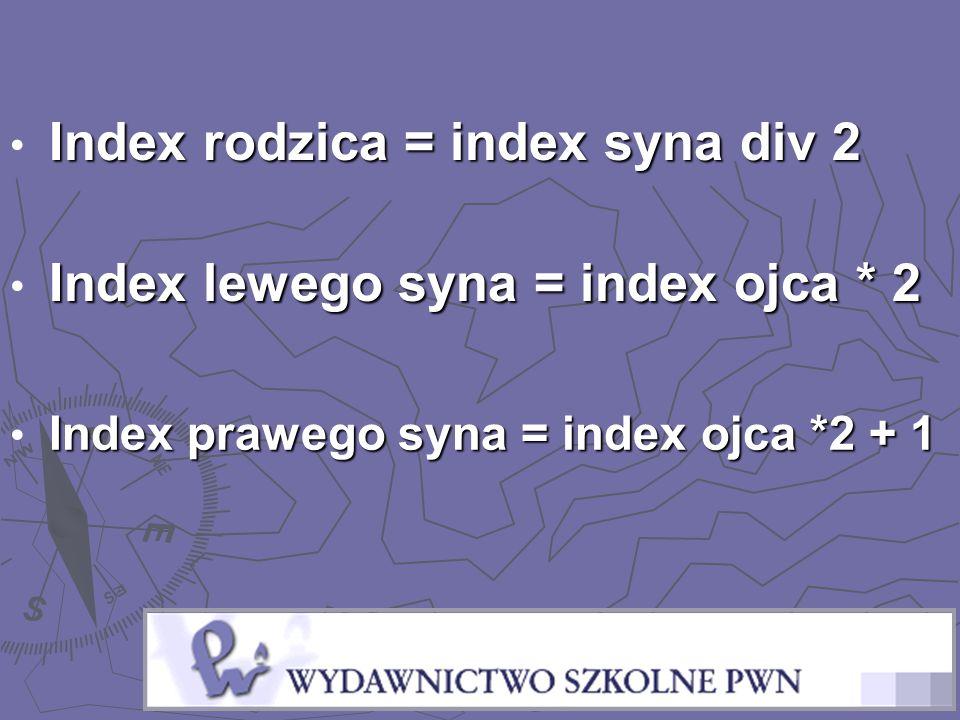 Index rodzica = index syna div 2 Index lewego syna = index ojca * 2 Index prawego syna = index ojca *2 + 1