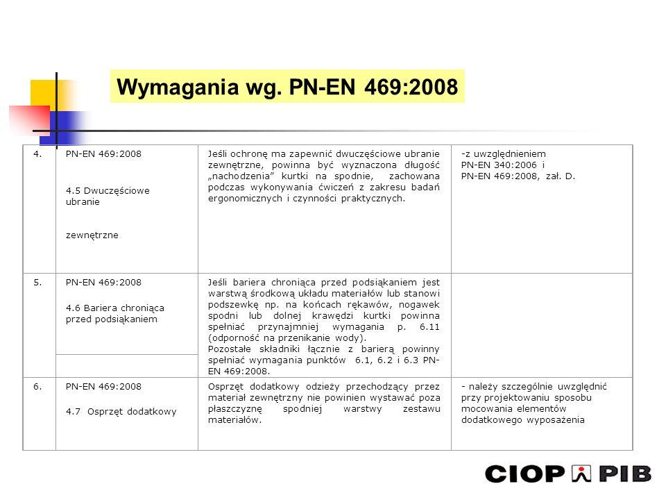 4.PN-EN 469:2008 4.5 Dwuczęściowe ubranie zewnętrzne Jeśli ochronę ma zapewnić dwuczęściowe ubranie zewnętrzne, powinna być wyznaczona długość nachodz