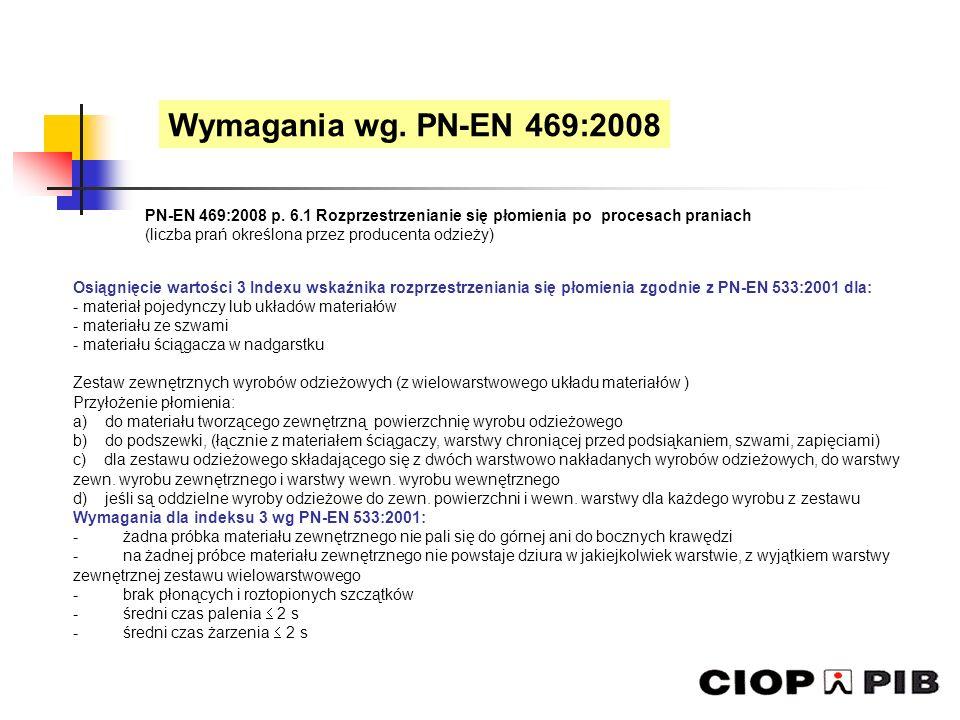 PN-EN 469:2008 p. 6.1 Rozprzestrzenianie się płomienia po procesach praniach (liczba prań określona przez producenta odzieży) Osiągnięcie wartości 3 I