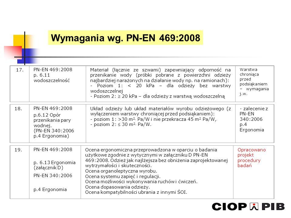 18.PN-EN 469:2008 p.6.12 Opór przenikania pary wodnej. (PN-EN 340:2006 p.4 Ergonomia) Układ odzieży lub układ materiałów wyrobu odzieżowego (z wyłącze