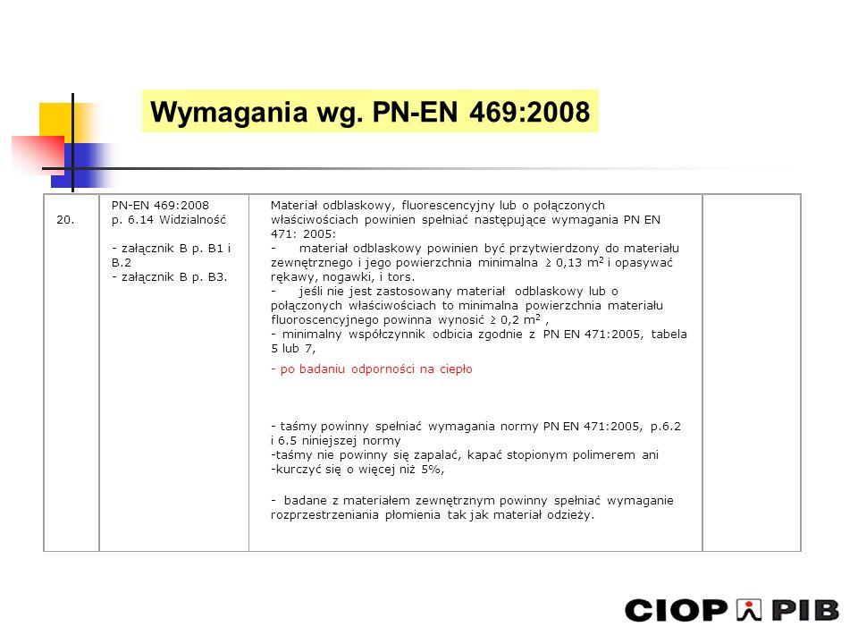 20. PN-EN 469:2008 p. 6.14 Widzialność - załącznik B p. B1 i B.2 - załącznik B p. B3. Materiał odblaskowy, fluorescencyjny lub o połączonych właściwoś