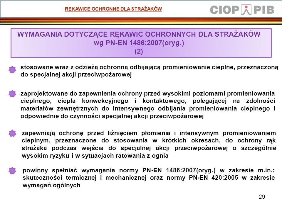 29 RĘKAWICE OCHRONNE DLA STRAŻAKÓW WYMAGANIA DOTYCZĄCE RĘKAWIC OCHRONNYCH DLA STRAŻAKÓW wg PN-EN 1486:2007(oryg.) (2) zapewniają ochronę przed liźnięc