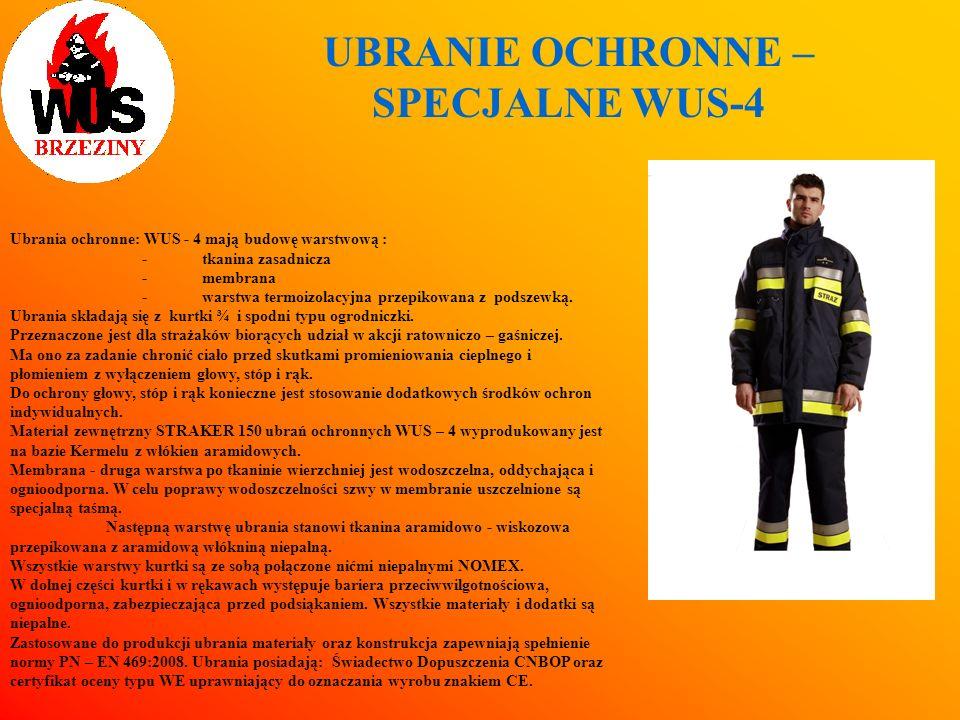 UBRANIE OCHRONNE – SPECJALNE WUS-4 Ubrania ochronne: WUS - 4 mają budowę warstwową : - tkanina zasadnicza -membrana -warstwa termoizolacyjna przepikow
