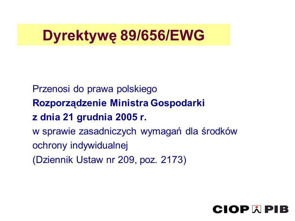 Dyrektywę 89/656/EWG Przenosi do prawa polskiego Rozporządzenie Ministra Gospodarki z dnia 21 grudnia 2005 r. w sprawie zasadniczych wymagań dla środk