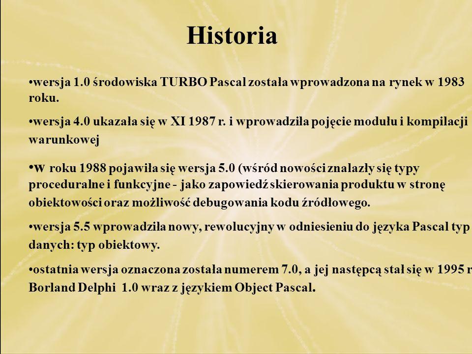 Historia wersja 1.0 środowiska TURBO Pascal została wprowadzona na rynek w 1983 roku. wersja 4.0 ukazała się w XI 1987 r. i wprowadziła pojęcie modułu