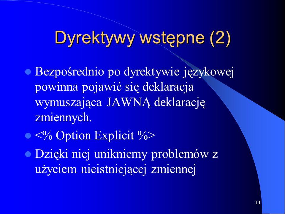 11 Dyrektywy wstępne (2) Bezpośrednio po dyrektywie językowej powinna pojawić się deklaracja wymuszająca JAWNĄ deklarację zmiennych.