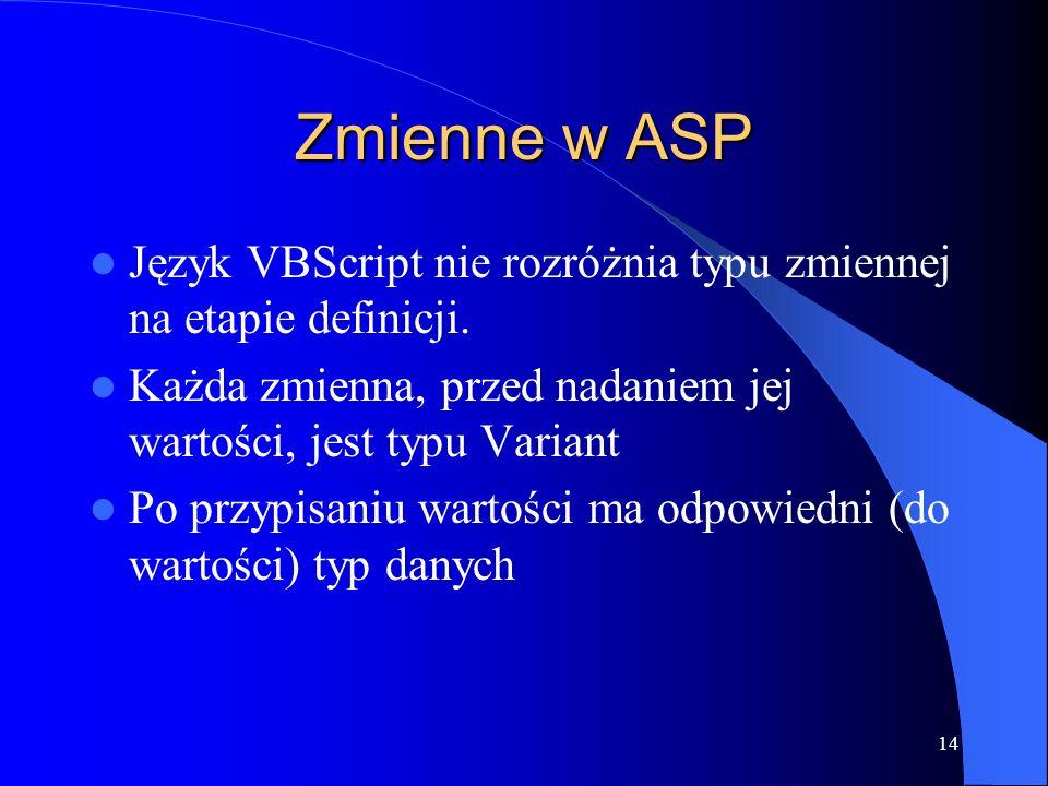14 Zmienne w ASP Język VBScript nie rozróżnia typu zmiennej na etapie definicji.