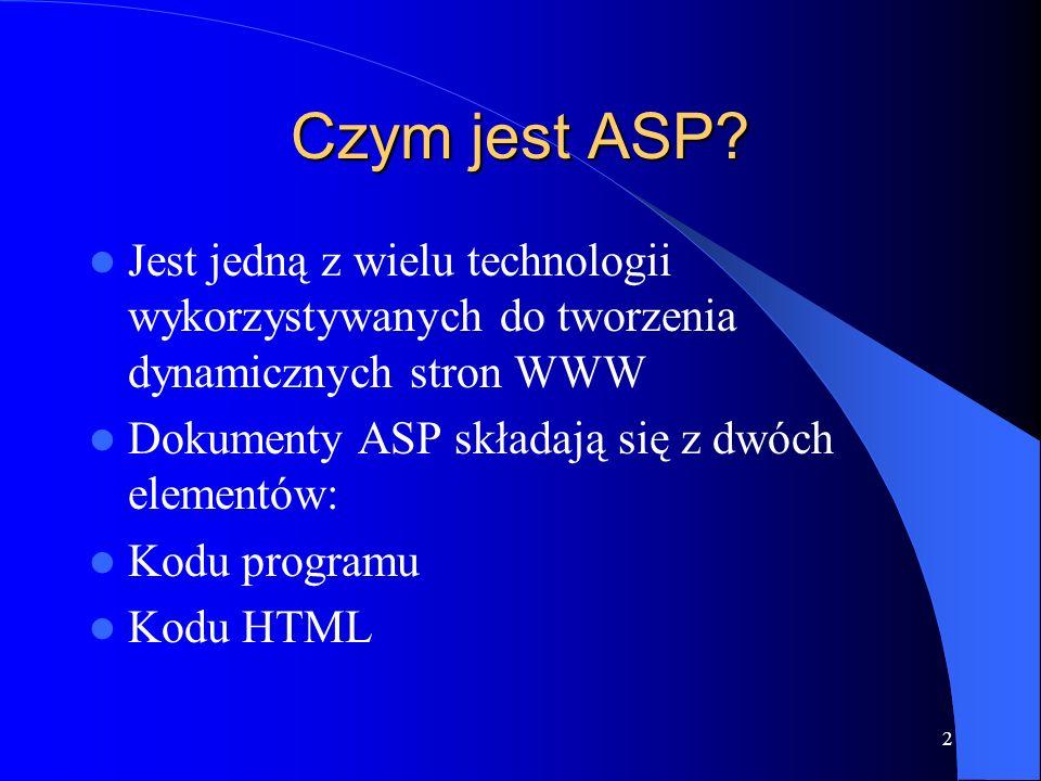 13 Komentarze w kodzie W kodzie ASP komentarze sygnalizowane są apostrofem W kodzie HTML komentarze są zawarte między parą znaczników W skrypcie Java komentarze są zaznaczane parą ukośników