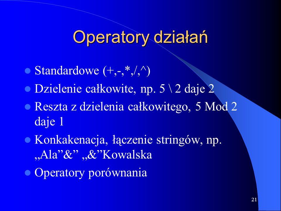21 Operatory działań Standardowe (+,-,*,/,^) Dzielenie całkowite, np.