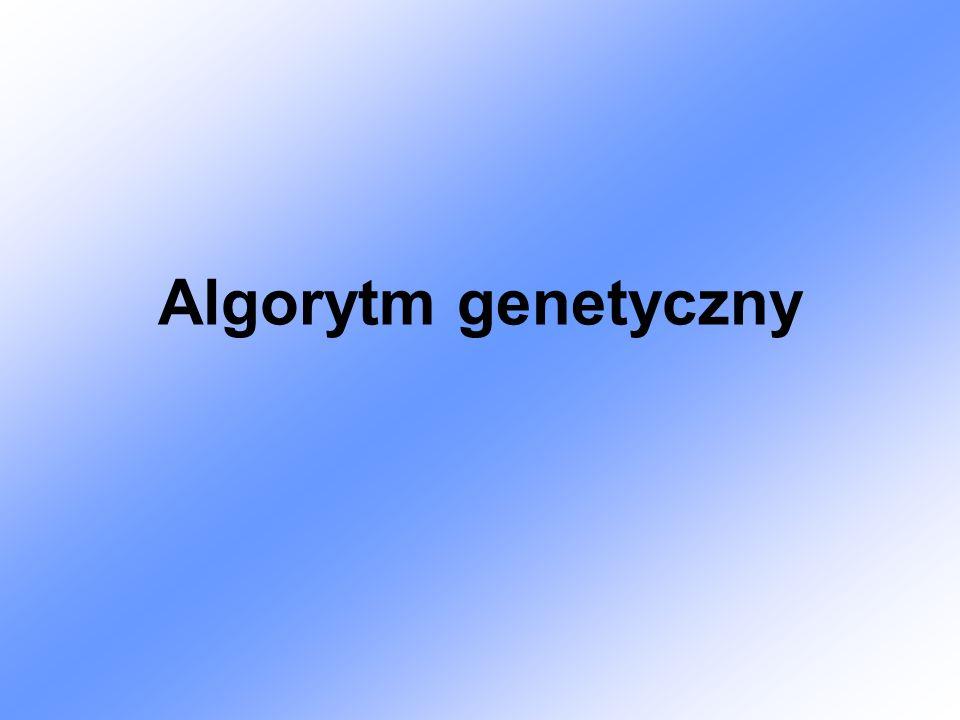 Definicja Algorytm genetyczny- przeszukuje przestrzeń alternatywnych rozwiązań problemu w celu odnalezienia rozwiązań najlepszych lub potencjalnie najlepszych.