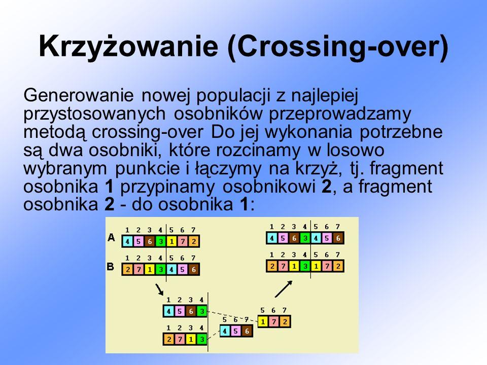 Krzyżowanie (Crossing-over) Generowanie nowej populacji z najlepiej przystosowanych osobników przeprowadzamy metodą crossing-over Do jej wykonania potrzebne są dwa osobniki, które rozcinamy w losowo wybranym punkcie i łączymy na krzyż, tj.