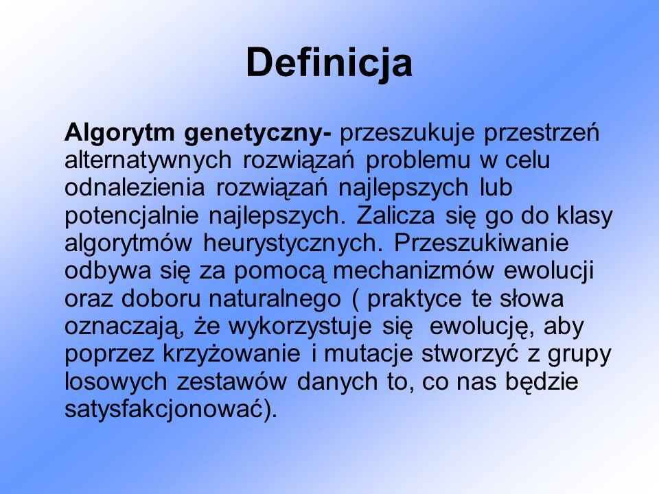 Definicja Algorytm genetyczny- przeszukuje przestrzeń alternatywnych rozwiązań problemu w celu odnalezienia rozwiązań najlepszych lub potencjalnie naj
