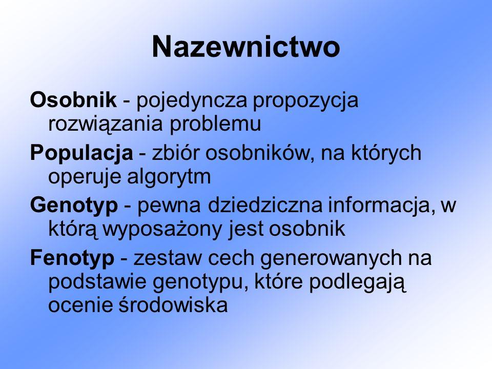 Nazewnictwo Osobnik - pojedyncza propozycja rozwiązania problemu Populacja - zbiór osobników, na których operuje algorytm Genotyp - pewna dziedziczna