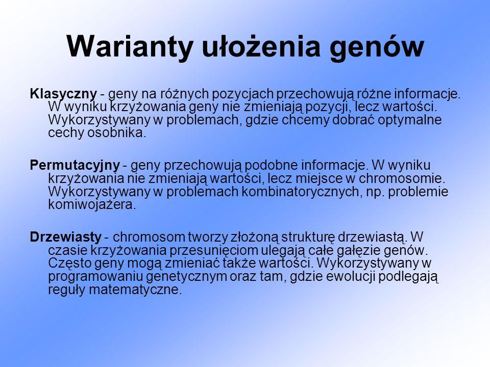 Wybór (losowy) populacji początkowej Populacja składa się z n punktów przestrzeni poszukiwań X Punkty są zakodowane w postaci ciągów binarnych (nazywamy je chromosomami) Chromosomy oznaczamy: ch1…..chn Populację początkową oznaczamy P(0) = {ch1…..chn} 0100110 (38) 1010001 (81) 0111100 (60) 0101100 (44) 0100101 (37) 0101011 (43) 1011110 (94) 0010111 (23)