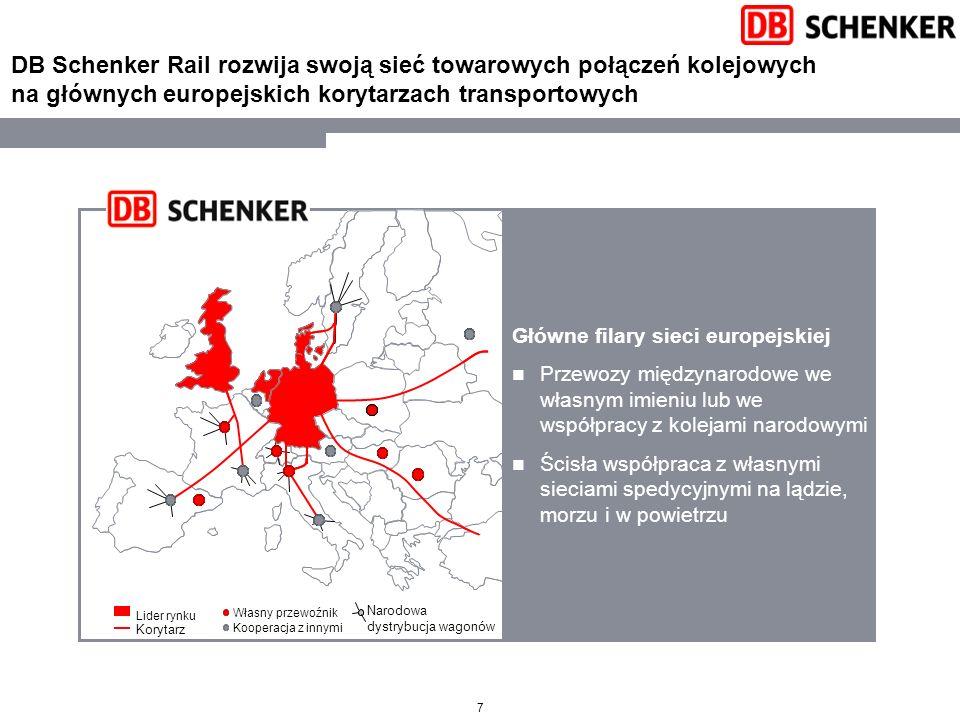 7 DB Schenker Rail rozwija swoją sieć towarowych połączeń kolejowych na głównych europejskich korytarzach transportowych