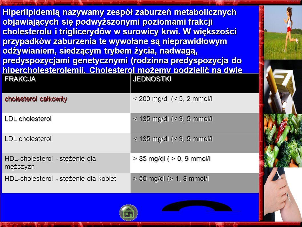 Hiperlipidemią nazywamy zespół zaburzeń metabolicznych objawiających się podwyższonymi poziomami frakcji cholesterolu i triglicerydów w surowicy krwi.