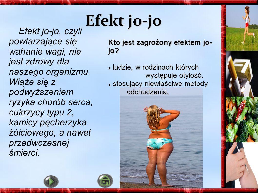Efekt jo-jo Efekt jo-jo, czyli powtarzające się wahanie wagi, nie jest zdrowy dla naszego organizmu. Wiąże się z podwyższeniem ryzyka chorób serca, cu