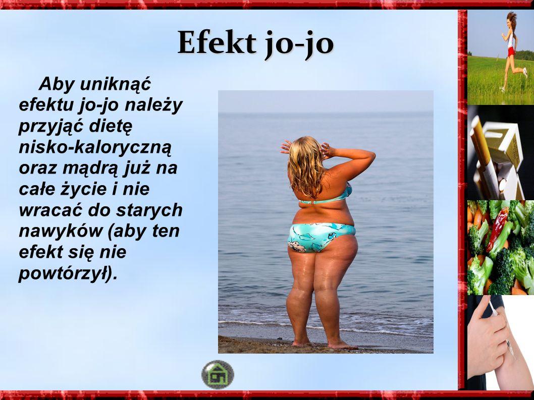 Efekt jo-jo Aby uniknąć efektu jo-jo należy przyjąć dietę nisko-kaloryczną oraz mądrą już na całe życie i nie wracać do starych nawyków (aby ten efekt