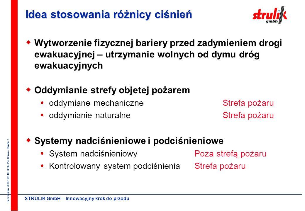 Seminarium 2008/ Strulik GmbH/W.Konka / Strona 12 STRULIK GmbH – Innowacyjny krok do przodu Przecieki z klatki schodowej A E : Całkowite przecieki Przecieki równoległe Przecieki szeregowe