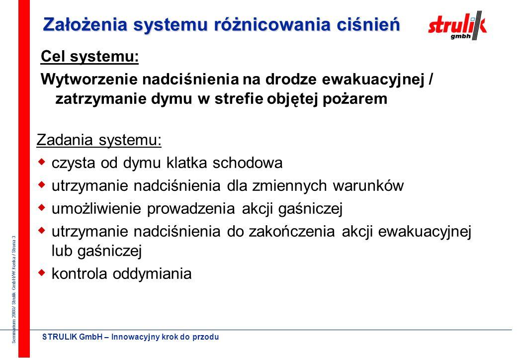 Seminarium 2008/ Strulik GmbH/W.Konka / Strona 13 STRULIK GmbH – Innowacyjny krok do przodu Przecieki klatki schodowej Wielkość przecieku powietrza R = 2 dla dużych otowrów (drzwi) R = 1,6 dla małych otworów (okna)