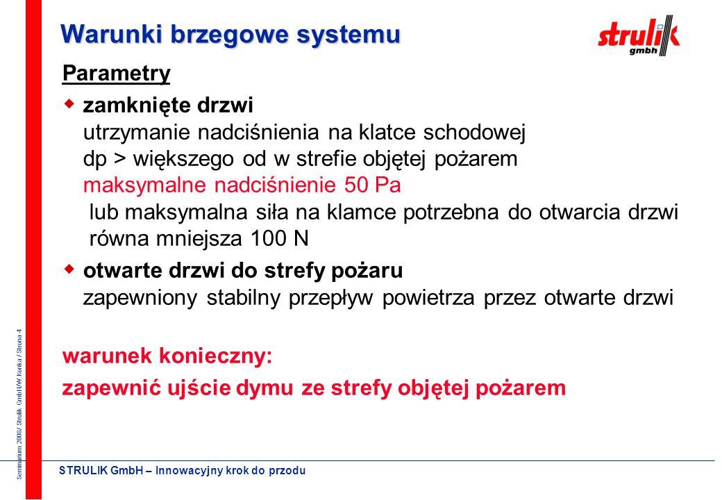 Seminarium 2008/ Strulik GmbH/W.Konka / Strona 4 STRULIK GmbH – Innowacyjny krok do przodu Warunki brzegowe systemu Parametry zamknięte drzwi utrzymanie nadciśnienia na klatce schodowej dp > większego od w strefie objętej pożarem maksymalne nadciśnienie 50 Pa lub maksymalna siła na klamce potrzebna do otwarcia drzwi równa mniejsza 100 N otwarte drzwi do strefy pożaru zapewniony stabilny przepływ powietrza przez otwarte drzwi warunek konieczny: zapewnić ujście dymu ze strefy objętej pożarem