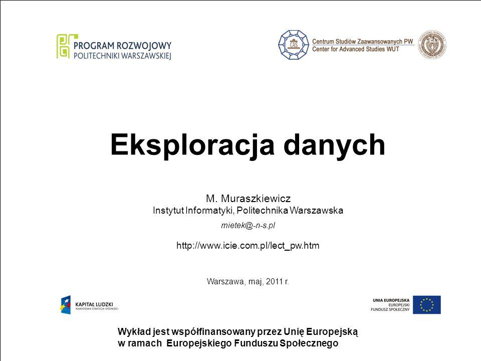 strona 1 Wykład jest współfinansowany przez Unię Europejską w ramach Europejskiego Funduszu Społecznego Eksploracja danych M.